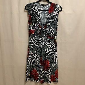 Nicole Benisti zebra, rose & paisley print dress